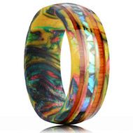 8mm - Unisex, Women's or Men's Wedding Rainbow Wedding Band. Rainbow Resin and Wood Ring with Abalone Shell Center Stripe. Domed Top Comfort Fit Brushed Tungsten Carbide Wedding Ring