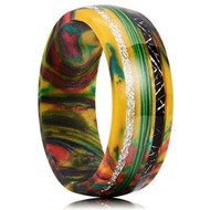 8mm - Unisex, Women's or Men's Wedding Rainbow Wedding Band. Rainbow Resin and Wood Ring with Green Thread Center Stripe and Black and White Inspired Meteorite Inlay. Domed Top Comfort Fit Brushed Tungsten Carbide Wedding Ring