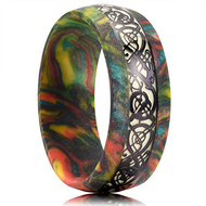 8mm - Unisex, Women's or Men's Wedding Rainbow Wedding Band. Rainbow Resin and Wood Ring with Black and White Celtic Knot Inlay. Domed Top Comfort Fit Brushed Tungsten Carbide Wedding Ring