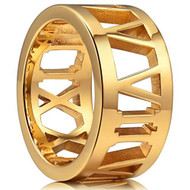 10mm - Unisex or Men's Stainless Steel Wedding Band. Yellow Gold with Hollow Roman Numerals. (Wide / Thick Band)