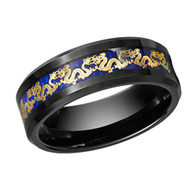 8mm - Unisex or Men's Tungsten Wedding Band. Chinese Dragon Black Ring Band with Gold Dragon Over Blue Carbon Fiber Inlay.