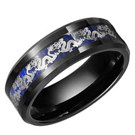 8mm - Unisex or Men's Tungsten Wedding Band. Chinese Dragon Black Ring Band with Silver Dragon Over Blue Carbon Fiber Inlay.