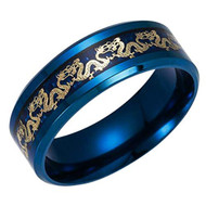 8mm - Unisex or Men's Stainless Steel Wedding Band. Chinese Dragon Blue Ring Band with Gold Dragon Over Blue Carbon Fiber Inlay.