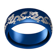 8mm - Unisex or Men's Stainless Steel Wedding Band. Chinese Dragon Blue Ring Band with Laser Etched Dragon. Domed Top Ring.