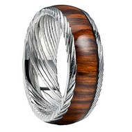 8mm -  Unisex or Mens Real Damascus Steel Band. Domed with Silver Tone with Real Wood Inlay Wedding Ring