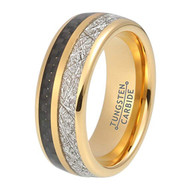 8mm - Unisex, Women's or Men's Wedding Tungsten Wedding Band. Yellow Gold Tungsten Band with Black Carbon Fiber Inlay and Inspired Meteorite. Domed Tungsten Carbide Ring. Comfort Fit