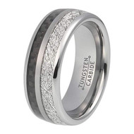 8mm - Unisex, Women's or Men's Wedding Tungsten Wedding Band. Silver Tungsten Band with Black Carbon Fiber Inlay and Inspired Meteorite. Domed Tungsten Carbide Ring. Comfort Fit