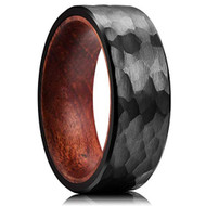 8mm - Unisex or Men's Tungsten Wedding Band. Black Hammered Finish Tungsten Carbide Ring with Inner Wood Inlay.