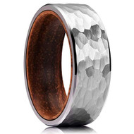 8mm - Unisex or Men's Tungsten Wedding Band. Silver Hammered Finish Tungsten Carbide Ring with Inner Wood Inlay.