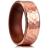 8mm - Unisex or Men's Tungsten Wedding Band. Rose Gold Hammered Finish Tungsten Carbide Ring with Inner Wood Inlay.