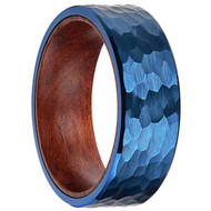 8mm - Unisex or Men's Tungsten Wedding Band. Blue Hammered Finish Tungsten Carbide Ring with Inner Wood Inlay.
