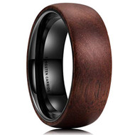 8mm - Unisex or Men's Tungsten Wedding Bands. Wood Domed Top and Black Tungsten Inside Ring
