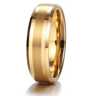 6mm - Unisex or Women's Tungsten Wedding Band. Gold Tone with Matte Finish Stripe. Comfort Fit