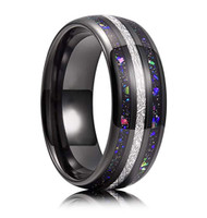 8mm - Unisex or Men's Tungsten Wedding Bands. Black Tone Multi Color Band with Rainbow Opal and Inspired Meteorite Inlay Ring (Organic colors)
