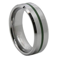8mm - Unisex or Men's Tungsten Wedding Band. Silver and Green Line Tungsten Carbide Ring with Beveled Edges