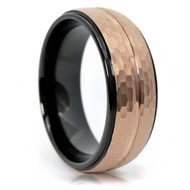 8mm - Unisex or Men's Tungsten Wedding Bands. Duo Tone Black and Rose Gold Hammered Line Finish Men's Tungsten Carbide Ring