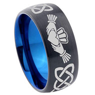 8mm - Unisex or Men's or Women's Irish Claddagh Tungsten Wedding Band. Celtic Wedding Bands. Black with Blue Inner band - Laser Etched Heart in Hands Celtic Knot