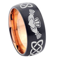 8mm - Unisex or Men's or Women's Irish Claddagh Tungsten Wedding Band. Celtic Wedding Bands. Black with Rose Gold Inner band - Laser Etched Heart in Hands Celtic Knot