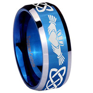 8mm - Unisex or Men's or Women's Irish Claddagh Tungsten Wedding Band. Celtic Wedding Bands. Blue and Silver Tone - Laser Etched Heart in Hands Celtic Knot