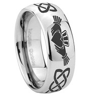 8mm - Unisex or Men's or Women's Irish Claddagh Tungsten Wedding Band. Celtic Wedding Bands. Silver and Black Tone - Laser Etched Heart in Hands Celtic Knot