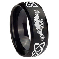 8mm - Unisex or Men's or Women's Irish Claddagh Tungsten Wedding Band. Celtic Wedding Bands. Black Band with Laser Etched Heart in Hands Celtic Knot