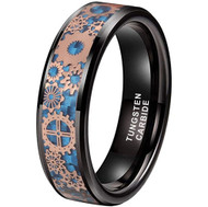 6mm - Unisex or Women's Tungsten Wedding Band. Wedding Band Black with Mechanical Gear (Rose Gold) Over Blue Carbon Fiber. Tungsten Carbide Ring