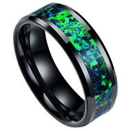 8mm - Unisex or Men's Ceramic Wedding Bands. Black with Blue Green Opal Inlay