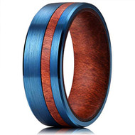 8mm - Unisex or Men's Tungsten Wedding Bands. Blue Tungsten Ring with Dark Wood Inlay Off Center Groove and Inner band.