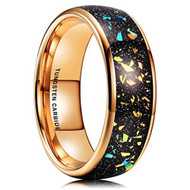 8mm - Unisex, Women's or Men's Tungsten Wedding Bands. Gold band with Multi Color Rainbow Fragments Inlay Ring