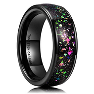 8mm - Unisex or Men's or Women's Tungsten Wedding Band. Wedding Band Black with Rainbow Fragments Inlay. Tungsten Carbide Ring