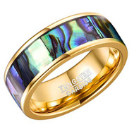 8mm - Unisex or Men's Tungsten Wedding Bands. Gold Band with Multi Color Rainbow Abalone Shell Inlay Ring (Organic colors)
