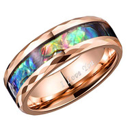 8mm - Unisex or Men's Tungsten Wedding Bands. Rose Gold Band with Faceted Edges and Multi Color Rainbow Abalone Shell Inlay Ring (Organic colors)