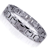"9"" Inch - Tungsten Bracelet Mens - Silver Classic Style High Polish Link Bracelet"