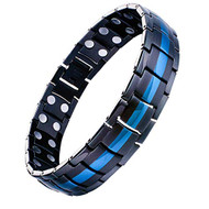 "8.5"" Inch - Blue and Black Magnetic Titanium Bracelet Mens - Duo Tone Magnetic Bracelet for Men"