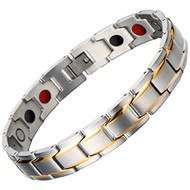"8.5"" Inch - Silver and Gold Magnetic Stainless Steel Bracelet Mens - Magnetic Stainless Steel Mens Gold and Black Power Element Bracelet with Strong Magnets and Clasp"