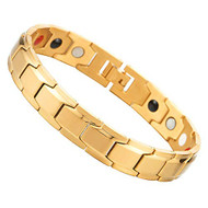 "8.5"" Inch - Gold Magnetic Stainless Steel Bracelet Mens - Magnetic Stainless Steel Mens Gold Power Element Bracelet with Strong Magnets and Clasp"
