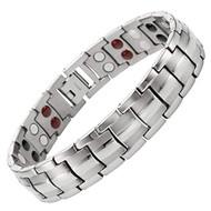 "8.5"" Inch - Silver Magnetic Titanium Bracelet Mens - Double Strength  Titanium Magnetic Bracelet - Gray Tone"