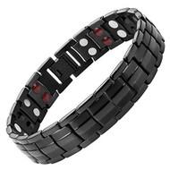 """8.5"""" Inch - Black Magnetic Titanium Bracelet Mens - Double Strength  Titanium Magnetic Bracelet - Black IP Plating"""