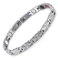"8"" Inch - Magnetic Stainless Steel Bracelet  Womens - Silver Tone Women's Stainless Steel Magnetic Bracelet with magnets, far infrared, germanium and negative Ion technology)"
