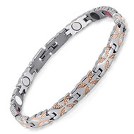 "8"" Inch - Magnetic Stainless Steel Bracelet Womens - Rose Gold and Silver Tone Women's Stainless Steel Magnetic Bracelet with magnets, far infrared, germanium and negative Ion technology)"