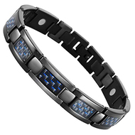 "8.5"" Inch - Black Magnetic Titanium Bracelet Mens - Black Carbon Fiber with a Hint of Blue tones. Wedding Bracelet  or Casual Wear Gift for Him"