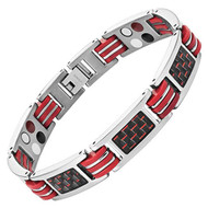 "8.5"" Inch - Silver Magnetic Titanium Bracelet Mens - Black Carbon Fiber with Red Link tones. Wedding Bracelet  or Casual Wear Gift for Him"