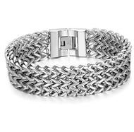 """9.0"""" Inch - Silver Stainless Steel Mesh Bracelet Men - Stainless Steel Curb Link Chain Bracelet Franco Style"""
