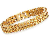 """8.5"""" Inch - Gold Plated Stainless Steel Mesh Bracelet For Men or Women - Stainless Steel Curb Link Chain Bracelet Franco Style (Unisex)"""