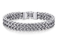 "8.5"" Inch - Silver Tone Stainless Steel Mesh Bracelet For Men or Women - Stainless Steel Curb Link Chain Bracelet Franco Style (Unisex)"