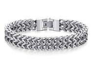 "9.0"" Inch - Silver Tone Stainless Steel Mesh Bracelet For Men or Women - Stainless Steel Curb Link Chain Bracelet Franco Style (Unisex)"