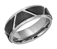 8mm - Unisex or Men's Tungsten Wedding Band. Duo Tone Silver Tone Band and Black Tone. Staggered Pattern Tungsten Wedding Band Ring Comfort Fit