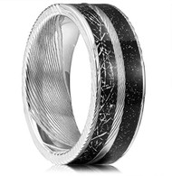 8mm -  Unisex or Mens Real Damascus Steel Band. Black Inspired Meteorite and Black Galaxy Inlay Wedding Ring