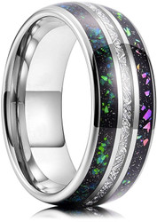 8mm - Unisex or Men's Tungsten Wedding Bands. Silver Tone Multi Color Band with Rainbow Opal and Inspired Meteorite Inlay Ring (Organic colors)