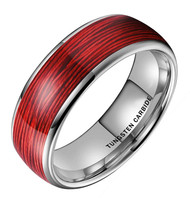 8mm - Unisex or Men's Tungsten Wedding Band. Red Wire Band (Silver Tungsten Carbide) Ring with Red Wire Inlay